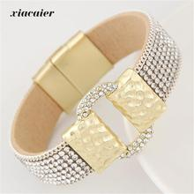 xiacaier Fashion Full Rhinestone Belt Buckle Wide Magnetic Leather Bracelets & Bangles For Women Statement Jewelry Wristband