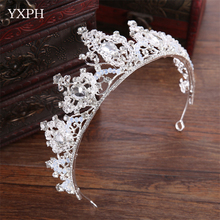 YXPH New Bridal Tiara Crown Princess Crown Wedding Bridal Crown Silver Color Cake Shaped Hair Jewelry Wedding Hair Accessories(China)
