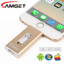 Samget For iPhone 6 Plus 5S 7Puls ipad Metal Pen drive HD Memory Stick Dual Purpose Mobile OTG Micro USB Flash Drive 32GB/64GB