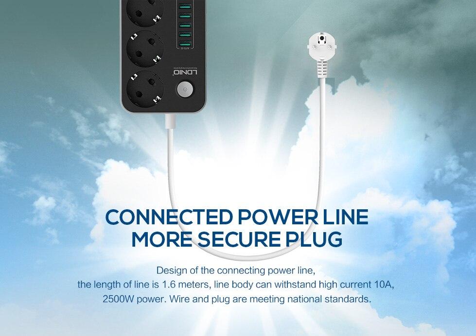 LDNIO 5V 3.4A Desktop 3 Power Socket 6 USB Port 5.24ft/1.6m EU Plug Charging Socket
