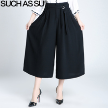 Brand New 2017 Spring Summer Wide Leg Pants Black Knitted Sexy Ankle-Length Culottes Pants S-3XL Plus Size Loose Pants Women