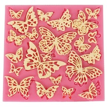 DIY Flower Butterfly Silicone Lace Mat Cupcake Fondant Molds Gumpaste Chocolate Moulds Sugarcraft Cake Decorating Tools CT684(China)