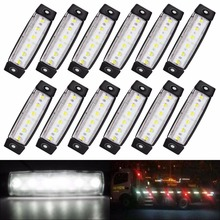 10Pcs White 6 LED Bus Van Truck Car Trailer Side Marker Indicators Lights Lamp 12V 24V