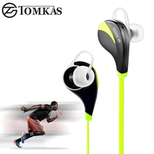 Bluetooth Wireless Earphone Tomkas Sport Hands Free Headset Stereo Mic Noise Cancelling Bluetooth Earphone For iphone 5 6 Phone(China)