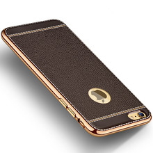 Litchi Pattern Soft Silicone Cases for iPhone 7 Case Luxury Leather 5 5s 6s 6 Plus Cover for iPhone 6s Case Silicone Luxury P05(China)