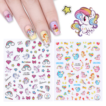 Unicorn Series 3D Nail Stickers Rainbow Colorful Diamond Star Heart Adhesive Water Decals Nail Art Transfer Sticker Nail Slider(China)