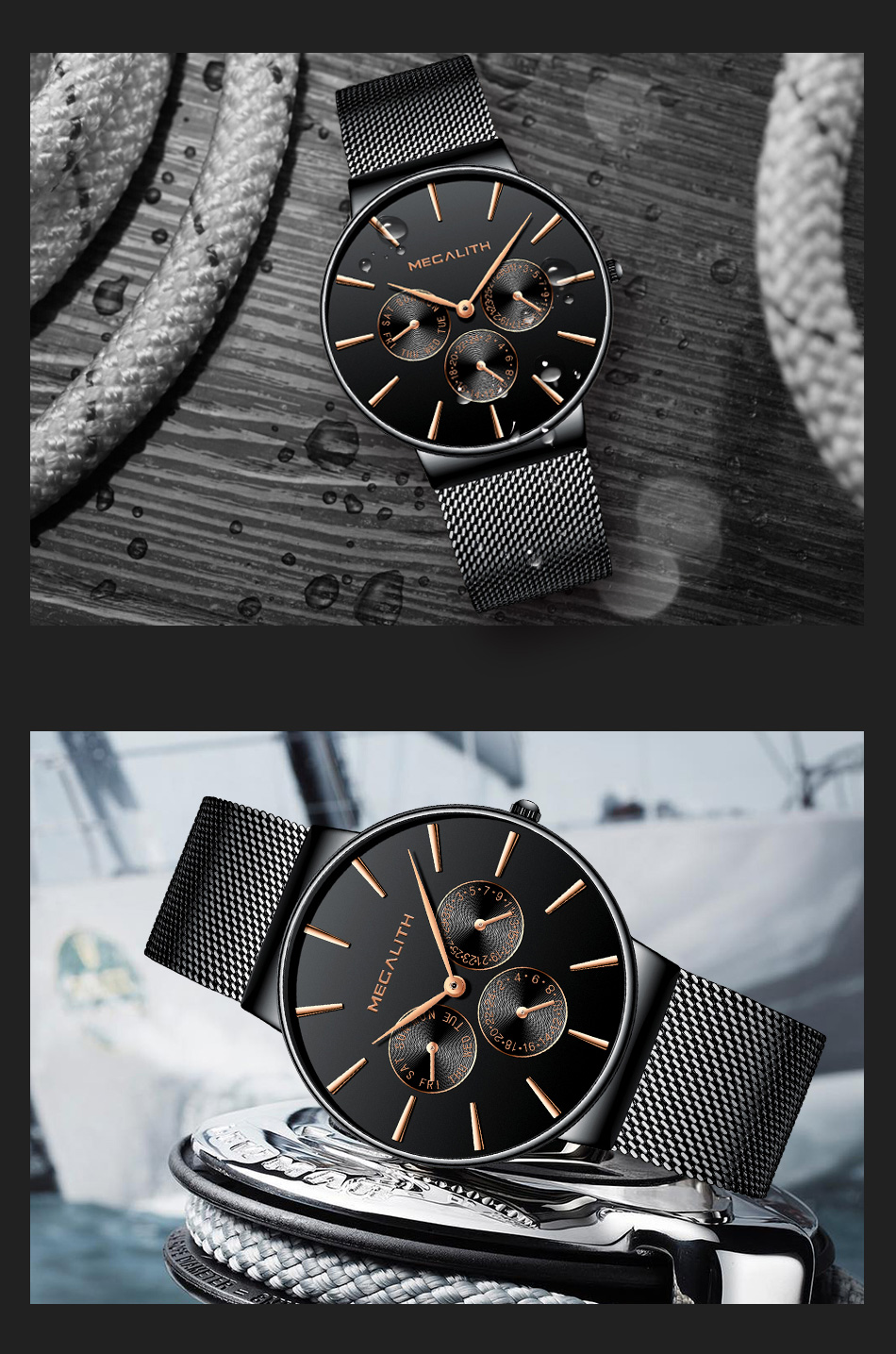 MEGALITH Mens Watches Top Brand Luxury Waterproof Wrist Watches Ultra Thin Date Simple Casual Quartz Watch For Men Sports Clock 14