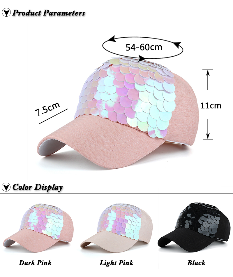 JOYMAY Spring New Fashion Women Baseball cap with Sequins Shining Bling Adjustable Leisure Casual Snapback HAT B438 5