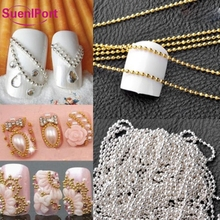 Sune l Port 1pc Nail Accessories Nails Chain Beads 3D Nail Decoration Gold Silver New Design Manicure Pedicure Beauty Makeup Tip(China)
