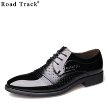RoadTrack Men's Gentlemen Italian french design Business office flat pattern PU leather oxford lace up shoe XMC0425(China)