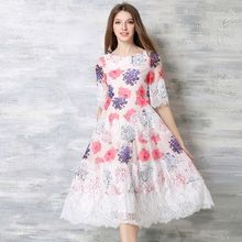 2016 summer new leisure fashion women clothing half sleeve round collar head over mid-long lace chiffon patchwork print dresses(China)