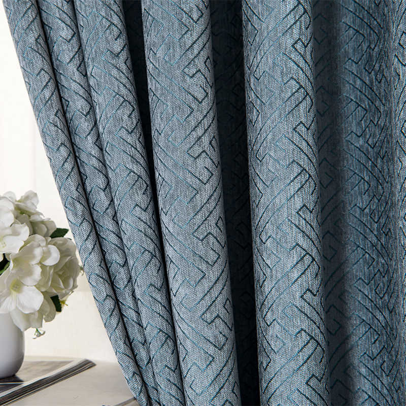 [byetee] Modern Blackout Kitchen Luxury Curtains For Bedroom Living Room Chenille Jacquard Curtains Window Door Curtain