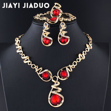 jiayijiaduo 2017 African beads jewelry set nigerian beads necklace set  jewellery sets for women Wedding dress accessories red