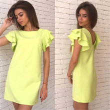 Neon Green Dress Summer Style 2017 Cute Cascading Ruffle Short Sleeve Cusual Dresses Open Back Evening Party Mini Female Dress