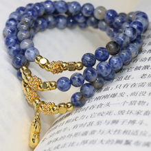 Free shipping new fashion classcial designnatural blue spot round beads 6mm multilayer bracelets women diy jewelry B2226