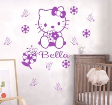 Personalized Name Hello Kitty Wall Sticker Kids Nursery Room Wall Decal Custom Words Decal For Girls Children Room Y-197(China)