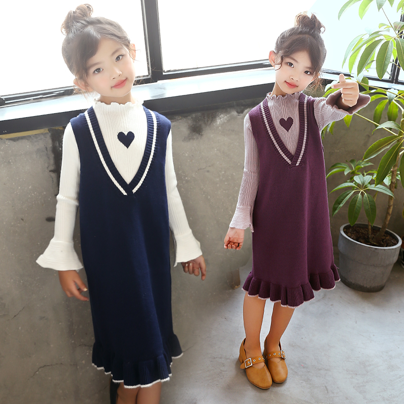 2pcs set blue long knitted sweater dress for girl children white sweater kids fashionable dresses for girls v neck vest dress<br>