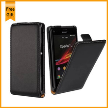 New Flip Vertical Style Genuine Leather Case For Sony Ericsson Xperia L S36H C2105 C2104 Mobile Phone Bag Cover Black