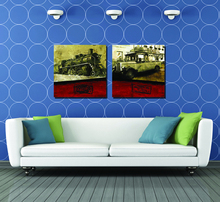 Wholesale 2pcs Modular Picture Train and Automobile Painting The Sitting Room Painting Decoration Modern Decorative Paintings