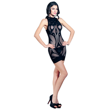 Buy Sexy Hot Fishnet Sleeveless Dress Latex Erotic Hot Lingerie Lenceria Babydoll Catsuit Underwear Costumes Tight Mini Bodycon