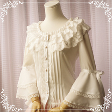 Women's Palace Big Hime Sleeve Lolita Blouse Double Layers Falbala Collar Lace Trim Cute Shirt Tops Black & White & Beige & Pink