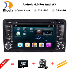 "2 Din 7"" 1024x600 Quad Core 1GB/16GB Android 6.0 PC Car DVD GPS For Audi A3 S3 2002-2011 With Stereo Radio WiFi OBD DVR DAB"