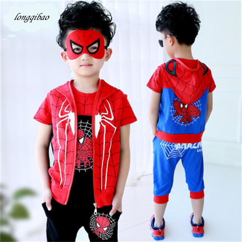Summer Childrens clothing set T-shirt  + pants / trouser suit boy kids clothes Spiderman patterns patterns Free shiping<br>
