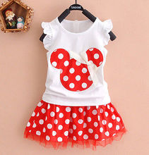 2016 Cartoon Mouse Princess Birthday Party Outfit Girls Dresses Red Dot Kids Clothing(China)