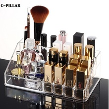 12 Types Lipstick Holder Clear Makeup Organizer Acrylic Nail Polish Storage Boxes Brush Display Rack Free shipping(China)