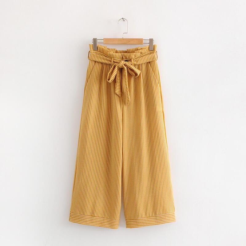 Women Fashion Striped Print Summer Loose High Street Wide Leg pants 2018 Casual High Waist bowknot Ankle-Length Pants#N284