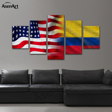 5 Piece Canvas Prints United States of America Flags Combined Israel Brazil China Wall Art Picture Home Decoration Ready to Hang