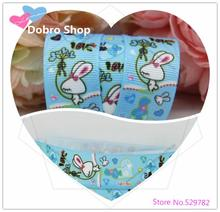 "Dobro 10 Y New Arrival 7/8""22mm Blue Love Rabbit Printed Grosgrain Ribbon Wholesale for Hair/Handmade/DIY Accessories"