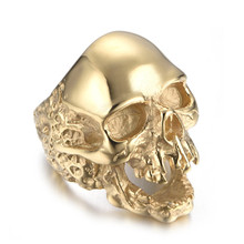 Vintage Gold Color skull ring for mens rock punk stainless steel Skull head ring Dropshipping(China)