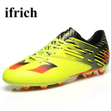 Ifrich Sport Football Training Shoes Long Spikes 2016 Soccer Boots Green/Orange Soccer Cleats Original Fotball Boots Men