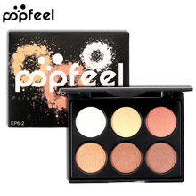 Popfeel New 6 Colors Matte Shimmer Eye Shadow Palette Cosmetics Makeup Pallete Beauty Make Up Tool Eyeshadow Set(China)