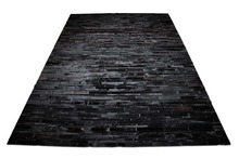 STAND ON QUALITY LEATHER ALL BLACK STRIPED NATURAL COW HIDE PATCHWORK RUG DESIGN NO. 253(China)