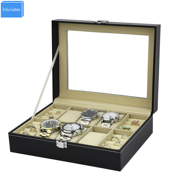 Large Leather 6+4 Grids Women Watch Jewelry Display Case Acrylic Window Top Jewelry Box Organizer, Family Collect Box Gift Case<br>