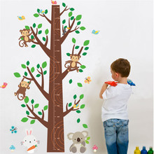 % Forest Animals Monkey butterfly Tree Height Measure Wall Sticker Kids Room Wall Decal Art Children Nursery Room Decor Poster(China)