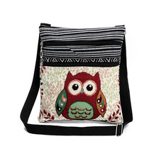 Fashion Ethnic Style Women Messenger Bags Dual Zipped Cartoon Owl Embroidered Shopping Dating Ladies Girls Shoulder Bag FA$B