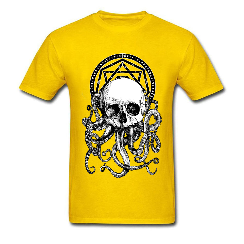 Pieces of Cthulhu Family Adult T Shirt O Neck Short Sleeve Pure Cotton Tops Shirts Geek T Shirt Wholesale Pieces of Cthulhu yellow