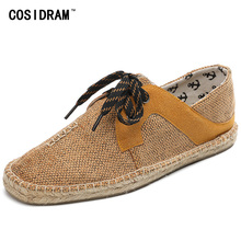 COSIDRAM 2017 Hemp Soft Men Casual Shoes Lace-Up Men Shoes Breathable Male Espadrille Fisherman Shoes Flats RMC-852-1(China)