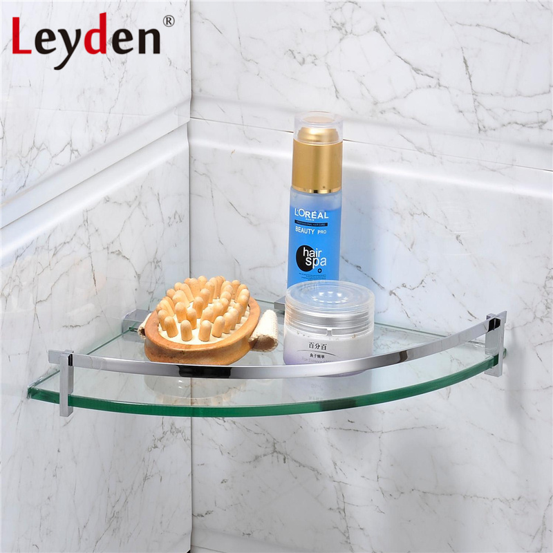 Leyden Stainless Steel Glass Shelf Corner Polished Chrome Wall Mounted Single Tier Bath Glass Shelf Holder Bathroom Accessories<br>