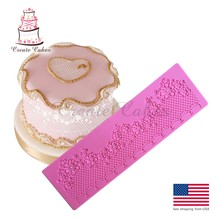 Flower Chain Decoration  Lace Mat Cake Mold Bakeware Baking Silicone Lace Mold Fondant Decoration Tools for Wedding Cake LFM-35