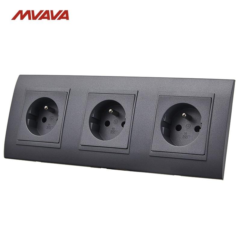 MVAVA 16A Triple Wall Socket AC 110V 250V Electrical Outlet Black PC ...