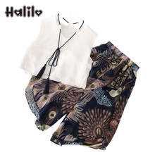 Halilo Kids Clothes Girls Summer Sets Vintage Chiffon Vest + Pants 2 Piece Girls Clothing Sets Children's Set Girl Clothing(China)