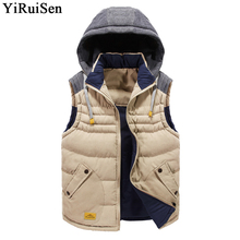 YiRuiSen Brand 2017 New Patchwork Color Mens Warm Vest With Detachable Hat Winter Coat Men Slim Mandarin Collar Waistcoat #f001(China)