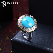 INALIS Luxury Big Round Turquoises Stone Ring White Gold Color Vintage Rings for Women Wedding Party Charming Statement Jewelry