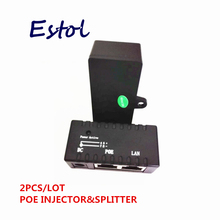 2 pcs/lot POE splitter Injector For IP Camera,IP Phone,CCTV AP Power over Ethernet Adapter Switch supply(China)