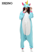 HKSNG Adult Unicorn Pajamas Animal Winter Flannel Pikachu Panda Totoro Giraffe Cat Onesies Pyjamas Kiguruma Cosplay Costume(China)