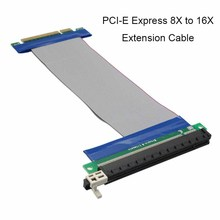 Super Performance PCI E PCI-E Express 8X to 16X Extension Cable Flat Patch Cord Ribbon Converter Riser Card Extension Adapter(China)